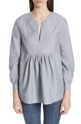 Co Cotton & Linen Blend Split Neck Blouse