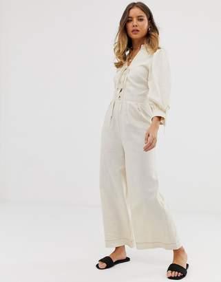 26d349b1c9feb Asos Design DESIGN Lace up front blouson sleeve jumpsuit