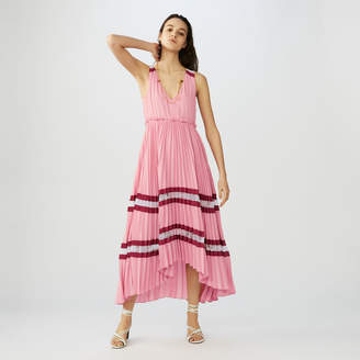 Maje Long pleated dress in crepe and lace