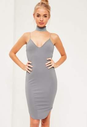 Missguided Blue Strappy Curve Hem Midi Dress