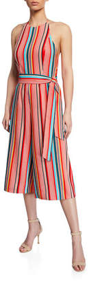 Alice + Olivia Lucie Striped Cropped Wide-Leg Halter Jumpsuit