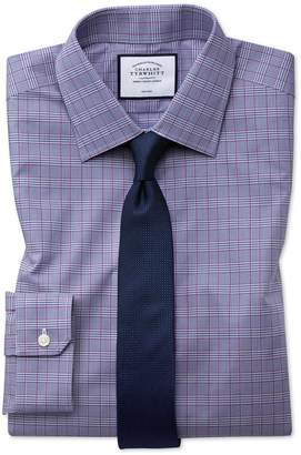 Charles Tyrwhitt Super Slim Fit Non-Iron Berry and Navy Prince Of Wales Check Cotton Dress Shirt Single Cuff Size 14/33