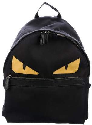 Fendi Monster Saffiano-Trimmed Backpack