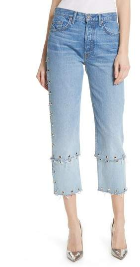 Helena Grommet Detail Straight Leg Crop Jeans