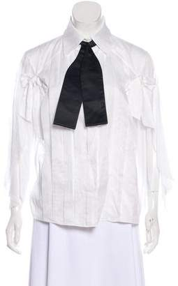 Chanel Pleated Button-Up Blouse