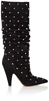 Valentino Women's Rockstud Suede Knee Boots - Black