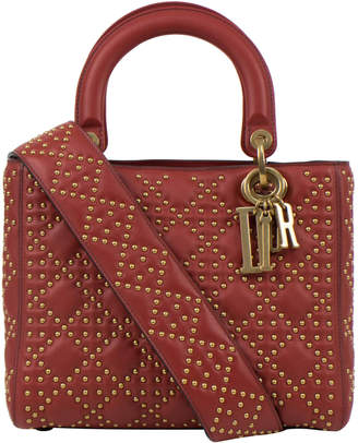 Christian Dior Top Handle Supple Lady Bag Cannage Studded Red