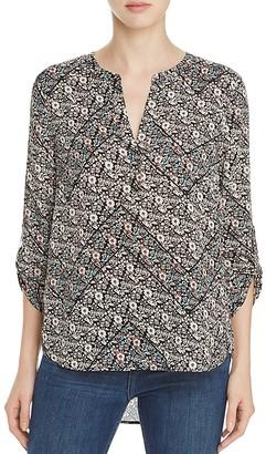 Daniel Rainn Floral Print Split Neck Blouse $78 thestylecure.com
