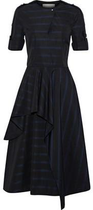 Jason Wu Asymmetric Layered Striped Cotton-Poplin Dress