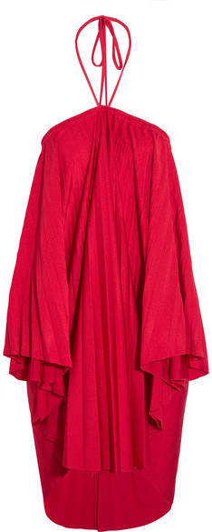 Balenciaga  Balenciaga - Convertible Pleated Stretch-satin Halterneck Dress - Red
