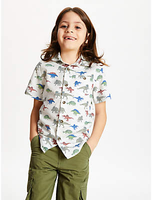255bcc2a John Lewis & Partners Boys' Dinosaur Shirt, White/Multi
