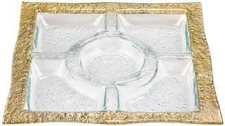 Badash Crystal Novarra Gold 5-Section Serving Tray