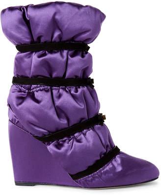 Stuart Weitzman Hyacinth Purple Duvet Wedge Satin Booties