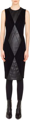 Akris Punto Sleeveless Argyle-Front Velvet & Leather Sheath Dress