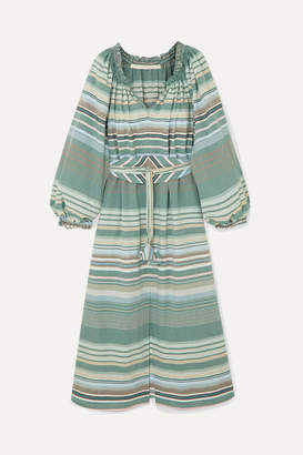 Bardot Anna Mason Belted Striped Cotton Dress - Green