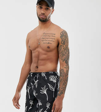 Design DESIGN Tall swim shorts in black with hand drawn floral print