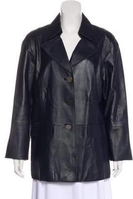 W by Worth Peak-Lapel Leather Coat