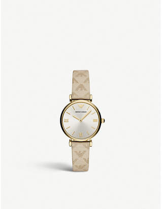 Emporio Armani AR11127 Gianni T-bar gold-plated stainless steel leather strap watch