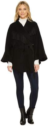 Ellen Tracy Faux Suede Fringe Belted Wool Blend Cape Women's Coat
