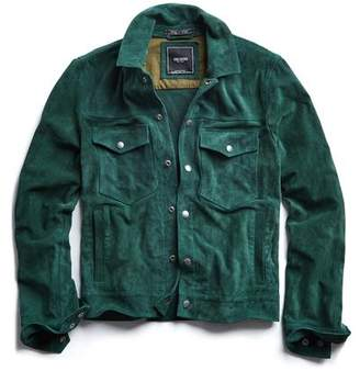 Todd Snyder Italian Suede Snap Front Dylan Jacket in Green