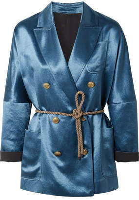 Brunello Cucinelli Belted Double-breasted Satin Blazer - Petrol