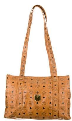 MCM Visetos Leather Tote Bag gold Visetos Leather Tote Bag