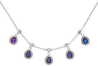 Monet Glass Crystal Teardrop Necklace, Silver/Lilac