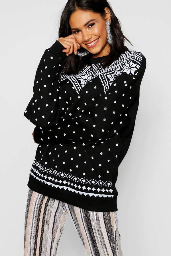 boohoo Christmas Fairisle Print Sweat Jumper