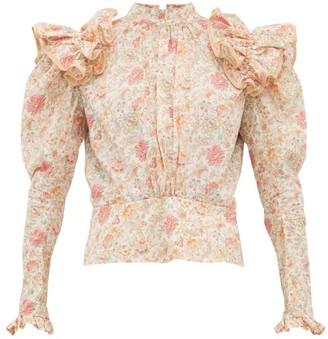 Matty Bovan - Ruffled Liberty Print Poplin Blouse - Womens - Light Pink
