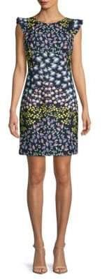 Printed Cap-Sleeve Stretch Dress