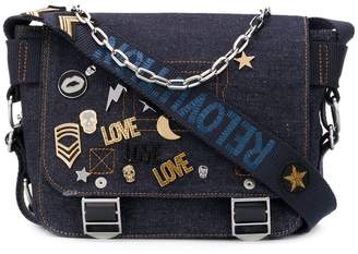 Zadig & Voltaire Zadig&Voltaire Readymade XS denim pins satchel bag