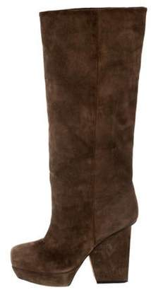 Acne Studios Suede Platform Knee-High Boots brown Suede Platform Knee-High Boots