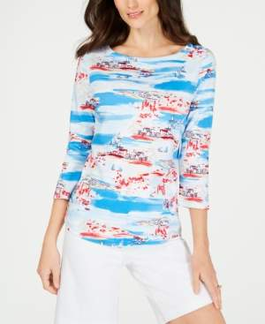 Charter Club Pima Cotton Printed Top, Created for Macy's
