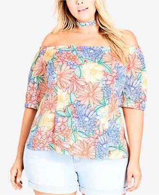 City Chic Trendy Plus Size Off-The-Shoulder Choker Top