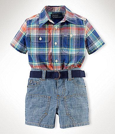 Ralph Lauren 9-24 Months Plaid Shirt & Denim Shorts Set
