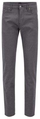 BOSS Hugo Slim-fit jeans in brushed stretch-cotton herringbone 33/32 Grey