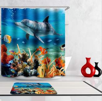 Moaere Dolphin Fish Waterproof Polyester Shower Curtain Art Decor Tropical Beach Ocean with 12 Hooks and Mat Non Toxic Eco-Friendly No Chemical Odor 71 x 71 Inch