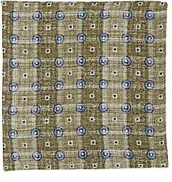 Brunello Cucinelli Men's Medallion-Print Linen-Cotton Pocket Square-Green