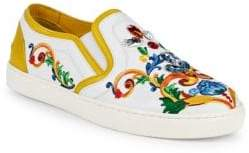 Dolce & Gabbana Embellished Leather Slip-On Sneakers