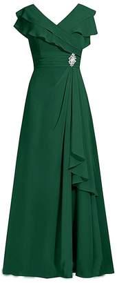 VaniaDress Women V Neck A Line Long Evening Dress Prom Gown V092LF US