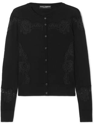 Dolce & Gabbana Lace-paneled Wool-blend Cardigan - Black