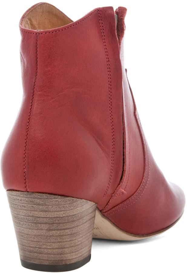Isabel Marant Dicker Leather Bootie in Bordeaux