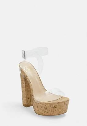 Missguided Nude Perspex Cork Platform Heeled Sandals