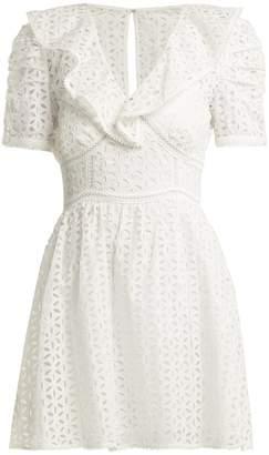 Self-Portrait Petal-embroidered cotton mini dress