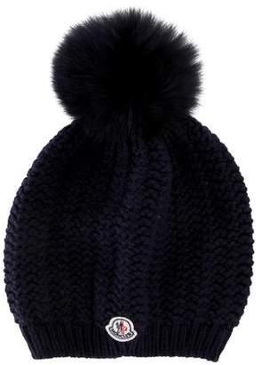 3dfc63ea296 Moncler Fur-Trimmed Knit Beanie w  Tags