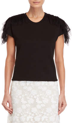 Giamba Black Lace Back Short Sleeve Sweatshirt