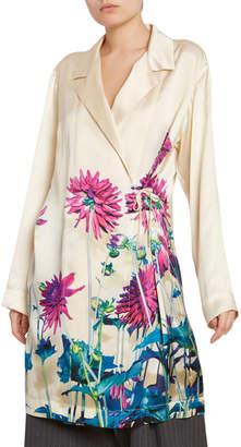 Dries Van Noten Floral-Print Satin Wrapped Blazer Tunic