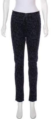 J Brand Mid-Rise Velvet-Trimmed Jeans