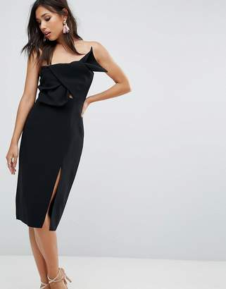 True Decadence Bow Front Bandeau Pencil Dress With Split Detail