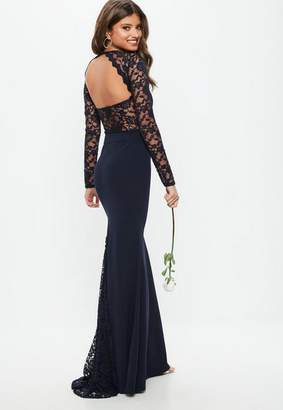 Missguided Bridesmaid Navy Round Neck Lace Insert Fishtail Maxi Dress